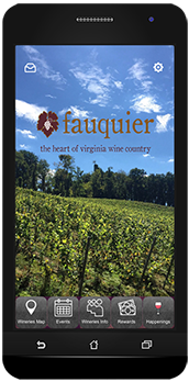 Fauquier Wine Council, Fauquier Wine Phone App pictured on phone
